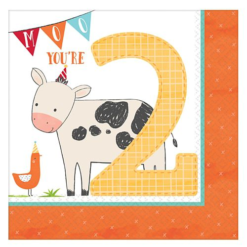 Barnyard 2nd Birthday Luncheon Napkins - 33cm - Pack of 16