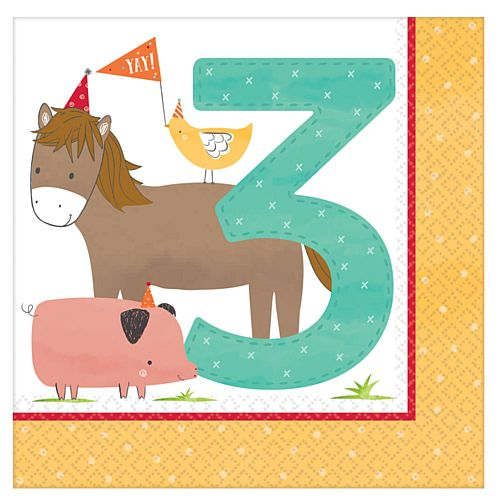 Barnyard 3rd Birthday Luncheon Napkins - 33cm - Pack of 16
