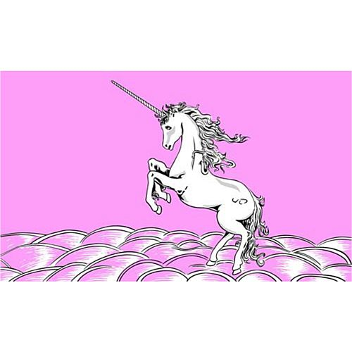 Pink Unicorn Polyester Fabric Flag 5ft x 3ft