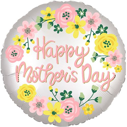 Happy Mother's Day Spring Floral Giant Satin Foil Balloon - 28""