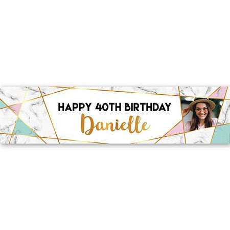 Marble Effect Personalised Photo Banner - 1.2m