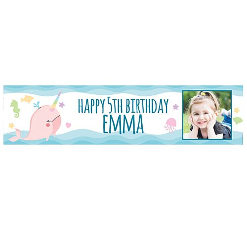 Narwhal Personalised Photo Banner - 1.2m