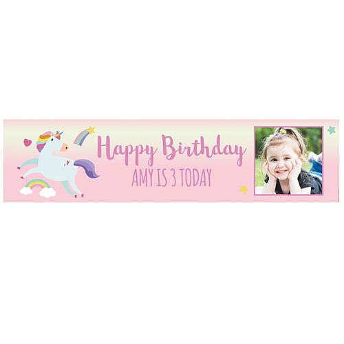 Pink Unicorn Personalised Photo Banner - 1.2m