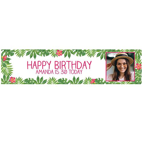 Tropical Leaves Personalised Photo Banner - 1.2m