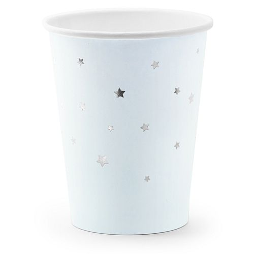 Light Blue Silver Stars Paper Cups - 260ml - Pack of 6