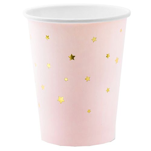 Light Pink Gold Stars Paper Cups - 260ml - Pack of 6
