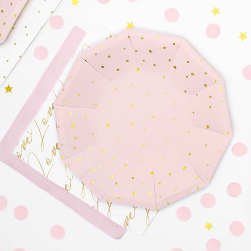 Light Pink Gold Stars Paper Plates - 18cm - Pack of 6