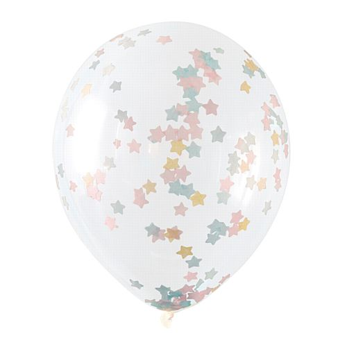 "Pink, Blue and Gold Star Confetti Balloons - 15"" - Pack of 5"