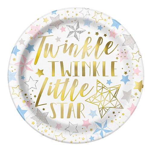 Twinkle Twinkle Little Star Plates - 23cm - Pack of 8