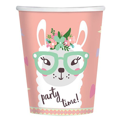 Llama Paper Cups - 250ml - Pack of 8