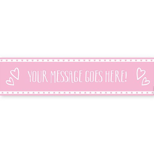 Pink Hearts Personalised Banner - 1.2m