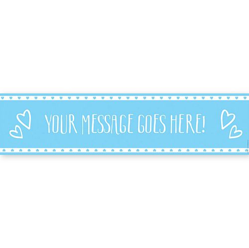 Blue Hearts Personalised Banner - 1.2m
