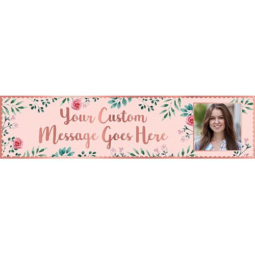 Rose Gold Floral Personalised Photo Banner - 1.2m