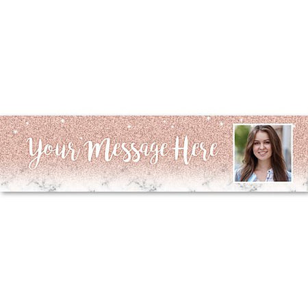Rose Gold Glitter Personalised Photo Banner - 1.2m
