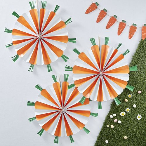 Hoppy Easter Carrot Hanging Fan Decorations - 40cm - Pack of 3