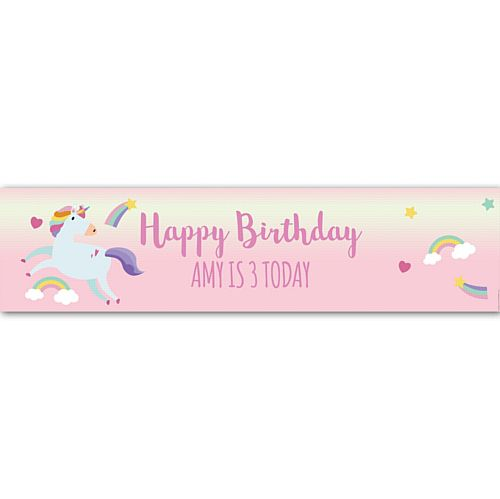 Pink Unicorn Personalised Banner - 1.2m