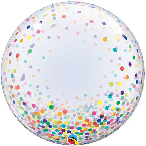 Multicolour Printed Confetti Dots Clear Bubble Balloon - 24""