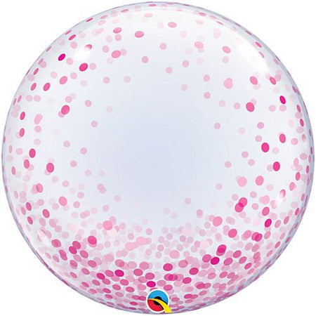 Pink Printed Confetti Dots Clear Bubble Balloon - 24