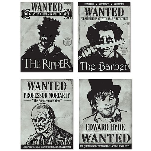 Sherlock Holmes Wanted Sign Posters - 38.7cm - Pack of 4