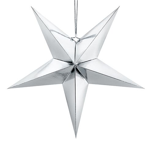 Silver Star Hanging Decoration - 30cm