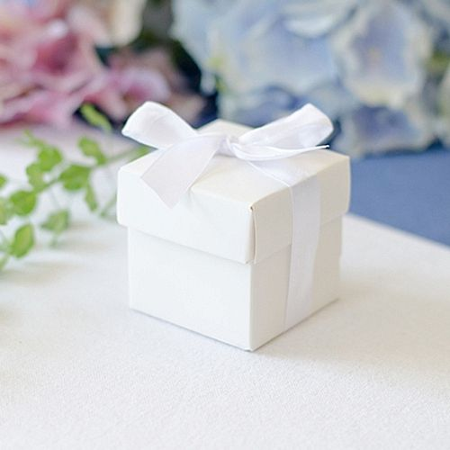 White Favour Box With Ribbon - 5cm - Pack of 10