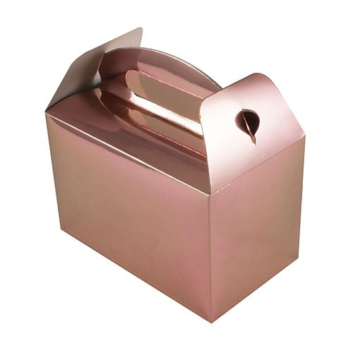 Rose Gold Metallic Party Boxes - Pack of 6