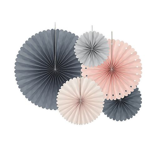 Pink and Grey Hanging Fan Decorations - Pack of 5