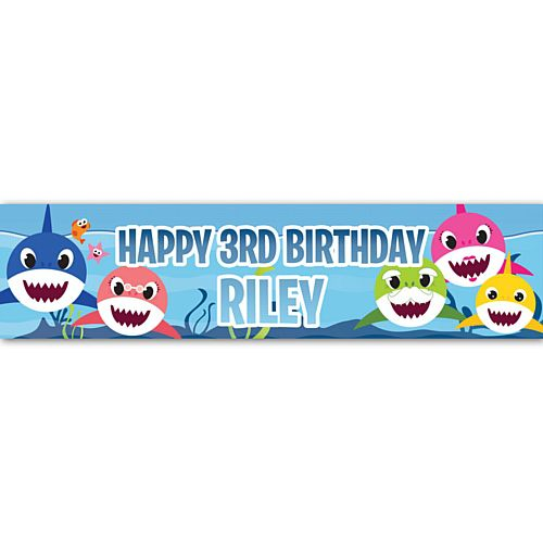 Baby Shark Party Personalised Banner - 1.2m