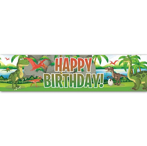 Dinosaur Park Happy Birthday Banner - 1.2m