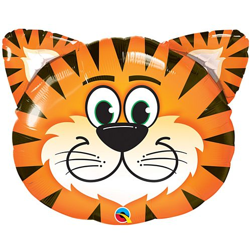 Tickled Tiger Face Foil Balloon - 30""