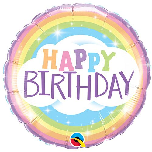 Pastel Rainbow Happy Birthday Foil Balloon - 18""