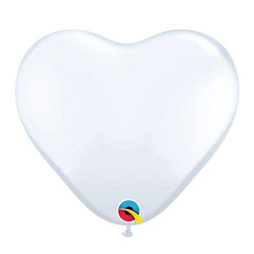 "White Heart Mini Shape Latex Balloons - 6"" - Pack of 10"