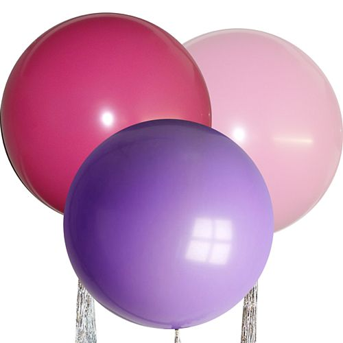 "Pink Mix Giant Round Latex Balloons - 24"" - Pack of 3"