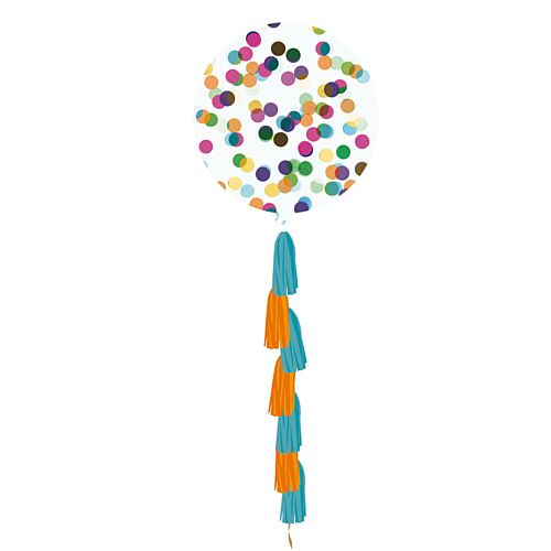 Multicolour Giant Round Confetti Balloon with Tassel - 36""