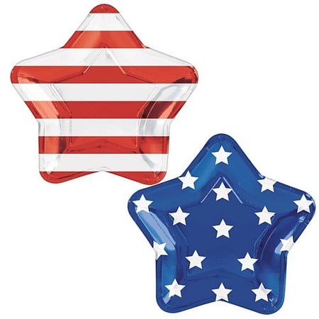 American Stars and Stripes Large Shaped Foil Plates - 27cm - Pack of 10