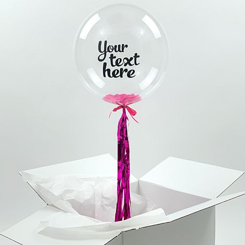 Helium Inflated Clear Orb Balloon with Pink Confetti Fill and Personalised Text