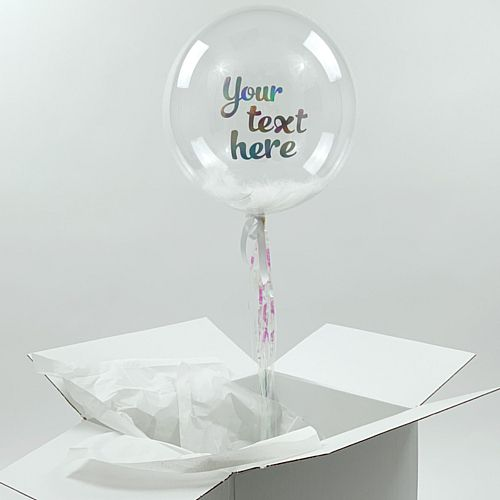 Helium Inflated Clear Orb Balloon with Feather Fill and Iridescent Personalised Text