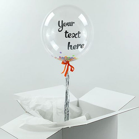 Helium Inflated Clear Orb Balloon with Multicolour Confetti Fill and Personalised Text