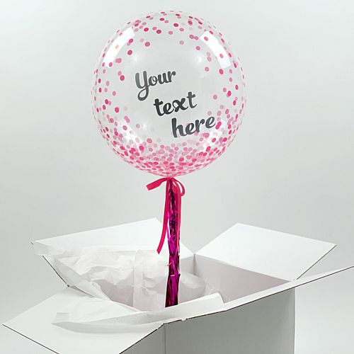 Helium Inflated Pink Confetti Balloon with Personalised Text