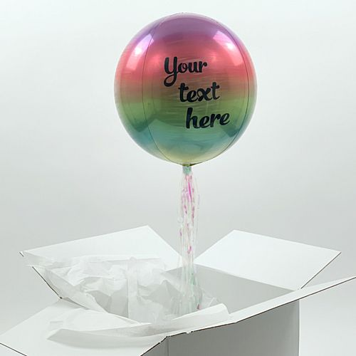 Helium Inflated Ombre Balloon with Personalised Text