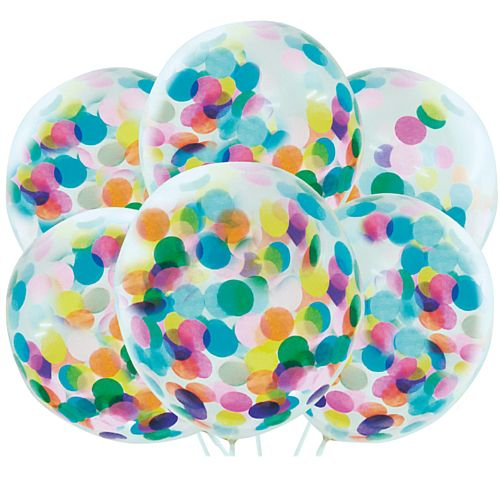 "Multicolour Confetti Latex Balloons - 12"" - Pack of 6"