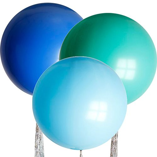"Blue Mix Giant Round Latex Balloons - 24"" - Pack of 3"