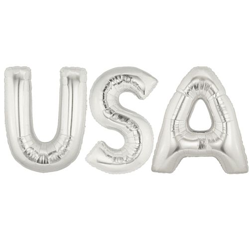 American 'USA' Silver Foil Letter Balloon Pack - 40""