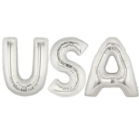 American 'USA' Silver Foil Letter Balloon Pack - 40