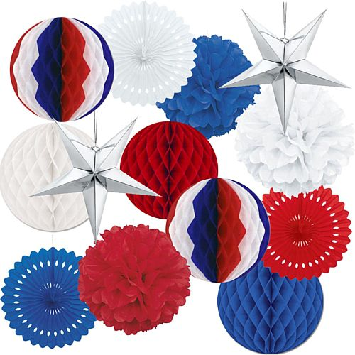 American Red, White and Blue Paper Decoration Kit