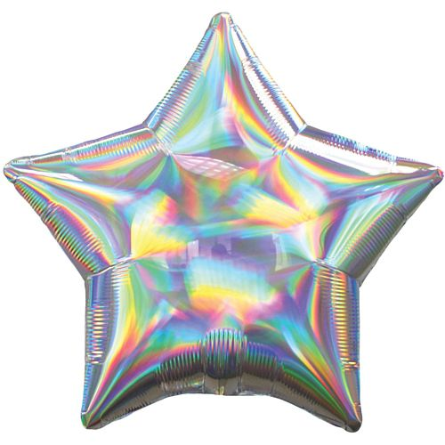 Silver Iridescent Foil Star Balloon - 18""