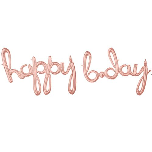 Happy B-day Rose Gold Script Phrase Air-Fill Foil Balloon - 35""