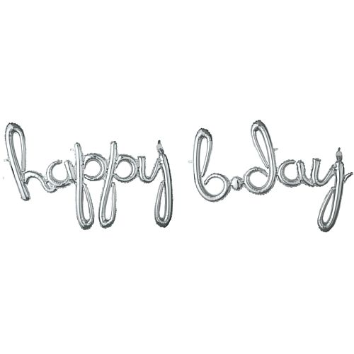 Happy B-day Silver Script Phrase Air-Fill Foil Balloon - 35""