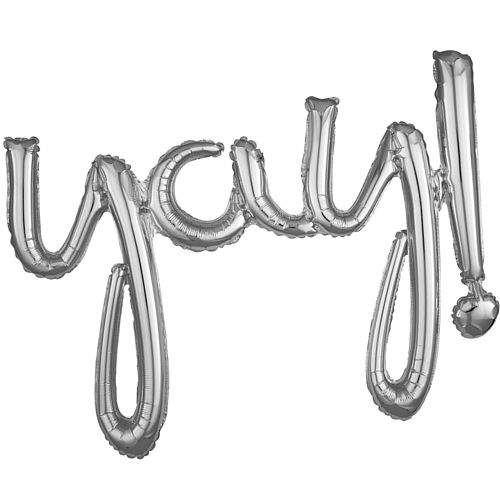 Yay! Silver Script Phrase Air-Fill Foil Balloon - 35""