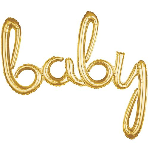 Baby Gold Script Phrase Air-Fill Foil Balloon - 39""